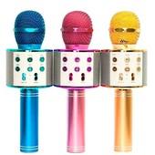 Микрофон блютуз голубой караоке микрофон