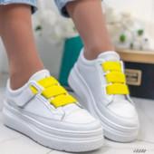 Хит продаж!Стильные и удобные белые кроссовочки!Качество супер!36,38,39,40,41(маломер)