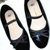 Чёрные лакированные туфли балетки для девочки стелька 21,5 см