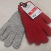 Перчатки женские трикотажные( в лоте 2 пары, красные и серые)