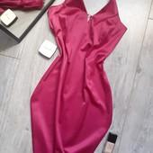 Безумно крутое атласное+стрейч платье фуксия камни стразы