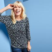 ☘ Стильна жіноча блузка з рукавами 3/4, Tchibo (Німеччина), р: 50-52 (44/46 євро)