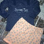 Утепленный комплект на модницу. нарядный реглан, нежная юбка