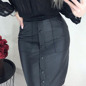 Модная юбка из кожзама c карманами миди и мини, 42, 44, 46, 48 рр.