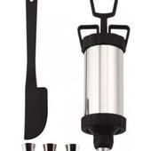 Кондитерский шприц с насадами и лопаткой /металический
