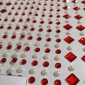 Наклейки декоративные стразы кристаллы-жемчужинки. В Лоте 256 страз (фото1) .