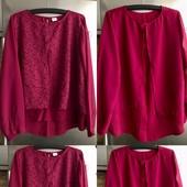 Эффектная ягодная блуза-туника! Кружево! Размер 22 uk! Как новая!