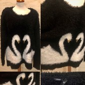 Размер 22 (up) / 50 (eu)! Классный свитер-туника травка*! Лебеди, пайетки!