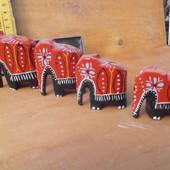 4 деревяных слоника из тайланда.Ручная работа.