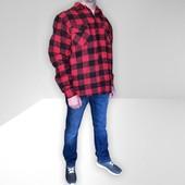 Бомба Фирменная тёплая мужская куртка-рубашка с карманами врезными бренд Longhorn размер L