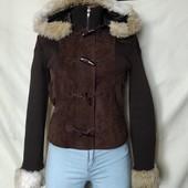 Классная демисезонная куртка из натурального замша+трикотаж,xs/s