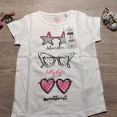 Польша! Стильная коттоновая футболка для девочки! 92 рост! 179 грн по ценнику!
