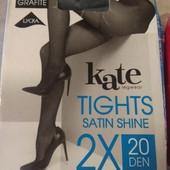 2 шт в наборе! Колготки Kate Италия 15 Den размер 3 (44-46 Euro) цвет: графит (темно-серый)