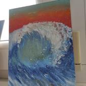 """Авторская картина """"морская волна в закате солнца"""""""