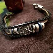 Стильный плетенный браслет, удобная застежка, унисекс