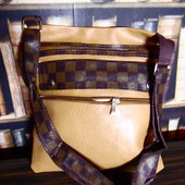 Сумка планшетка кроссбоди в стиле Louis Vuitton, коричневая, унисекс