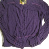 Симпатичная блуза из жатой ткани фиолетового цвета