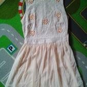 Красивенькое платье персикового цвета, размер по бирке 10