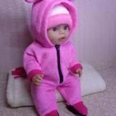 Комбинезон Розовый пони ! Из мягкого флиса для куклы Беби борн ростом 43 см.Или подобных кукол .