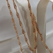 очень красивая и нежная цепочка, плетение сингапур 60 см, позолота 585 пробы