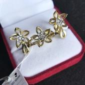 Красивый набор позолота 585(лимонное золото) фианиты