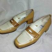 24.8 см Необычные лоферы туфли в стиле ретро. Кожа