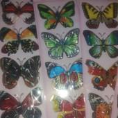 """""""Живые""""8Д наклейки- бабочки с разноцветными крылышками.4шт.-большие,красивые,разные"""