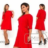 Обалденное красное платье с бантиками, рр 48-54, Батал, замеры в лоте