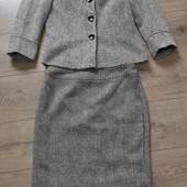 Стильный костюм /блейзер +юбка/ткань елочка/38/M/46
