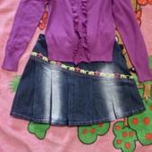 Кофта сиреневая и юбка джинс