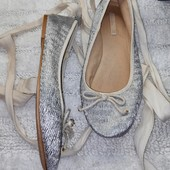 Балетки текстильные ZARA серебряный + пудровый цвет для девочки стелька 23 см