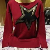 Эксклюзивная тёмно бардовый с поедками стречь свитерок. Sprit.l,xl,xxl. Смотрите лотов много