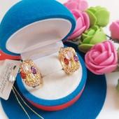 Новинка!!!Очаровательные серьги -колечки с цветными кристаллами позолота 585 пробы