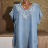 Собираем лоты!!! Джинсовая блуза с вышивкой, размер 44