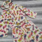 Мягусенький теплый флисовый халат на девочку 5-6 лет