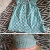 Одним лотом! Легкая, красивая блуза H&M 6-7л 122 см+шляпка 3-6лет, ообьем 52