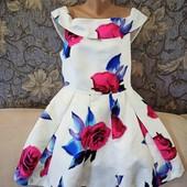 Нарядное платье с пышной юбкой, в цветочный принт, р. XL