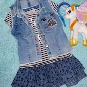 Обалденный крутецкий лот!Платье+жилетка,на девочку 2-3 годика