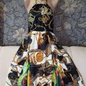Шикарное летнее, сатиновое платье, в красивый принт, р. L