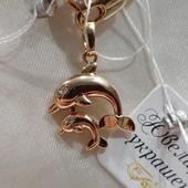 красивая и нежная подвеска - дельфинчики на цепочку или браслет, позолота 585 пробы