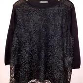 Нарядный свитер свитшот черный спереди черное кпужево Bonmarche