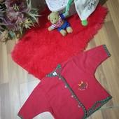 Трикотажна червона кофточка на дівчинку , стан нової, 10% знижка на УП