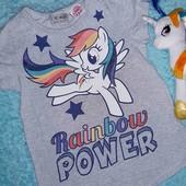 Обалденная футболочка с поняшкой,от My little pony, на девочку 3-4 годика