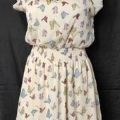 Лёгенькое фирменное платье с бабочками,s/m, Читаем!