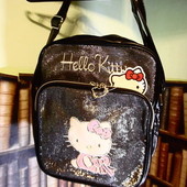 Большая черная сумочка Hello Kitty с глитером