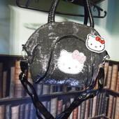 Блестящая черная сумочка Hello Kitty с глитером
