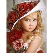 """Алмазная вышивка """"Девочка в шляпке"""". Полная выкладка"""