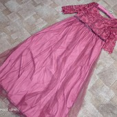 Красное платье фатин-кружево