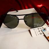 Мужские солнцезащитные очки авиаторы Boguang оригинал. Стекло, гравировка на линзе и дужке. UV400