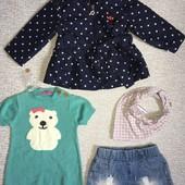 Лот на малышку :плащик,платье,шорты-1-2года